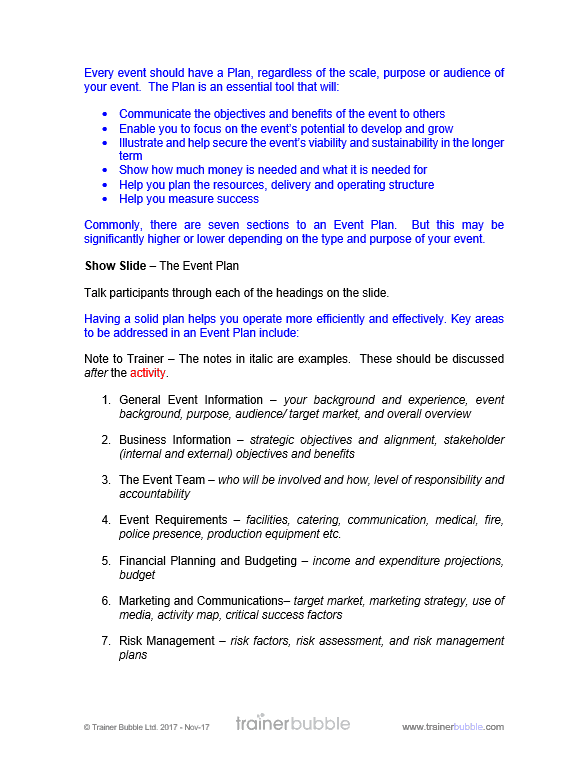 Event Management Training Course Materials | Training Resources, UK, Online