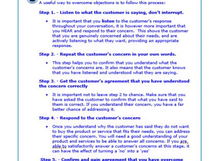 sales objection process