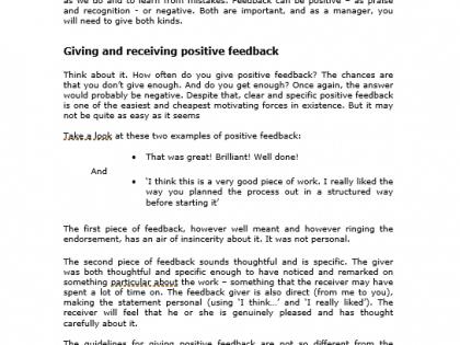 giving feedback training