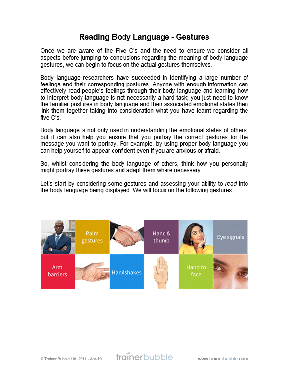 Body Language Training Course Materials | Training Resources, UK, Online |  Trainer Bubble